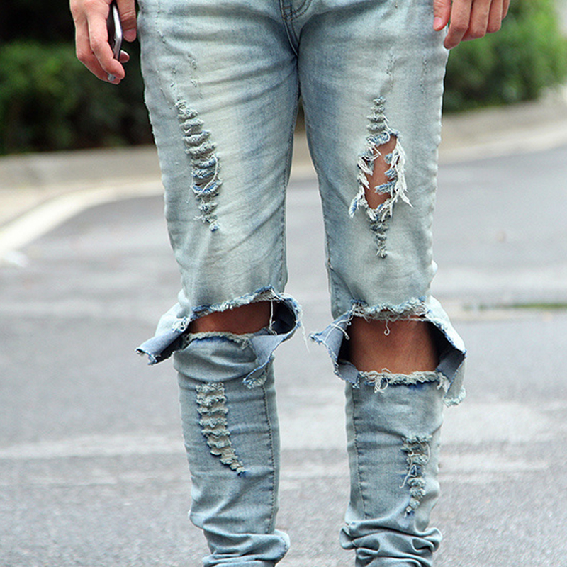 2017 Street style hip-hop High street slim hole washing jeans mens jeans pants skateboard tide male tide Free Shipping