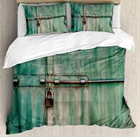 Duvet Cover Set, Aged and Closed Door with a Lock Close Up View in Retro Style Entrance Photo, 4 Piece Bedding Set