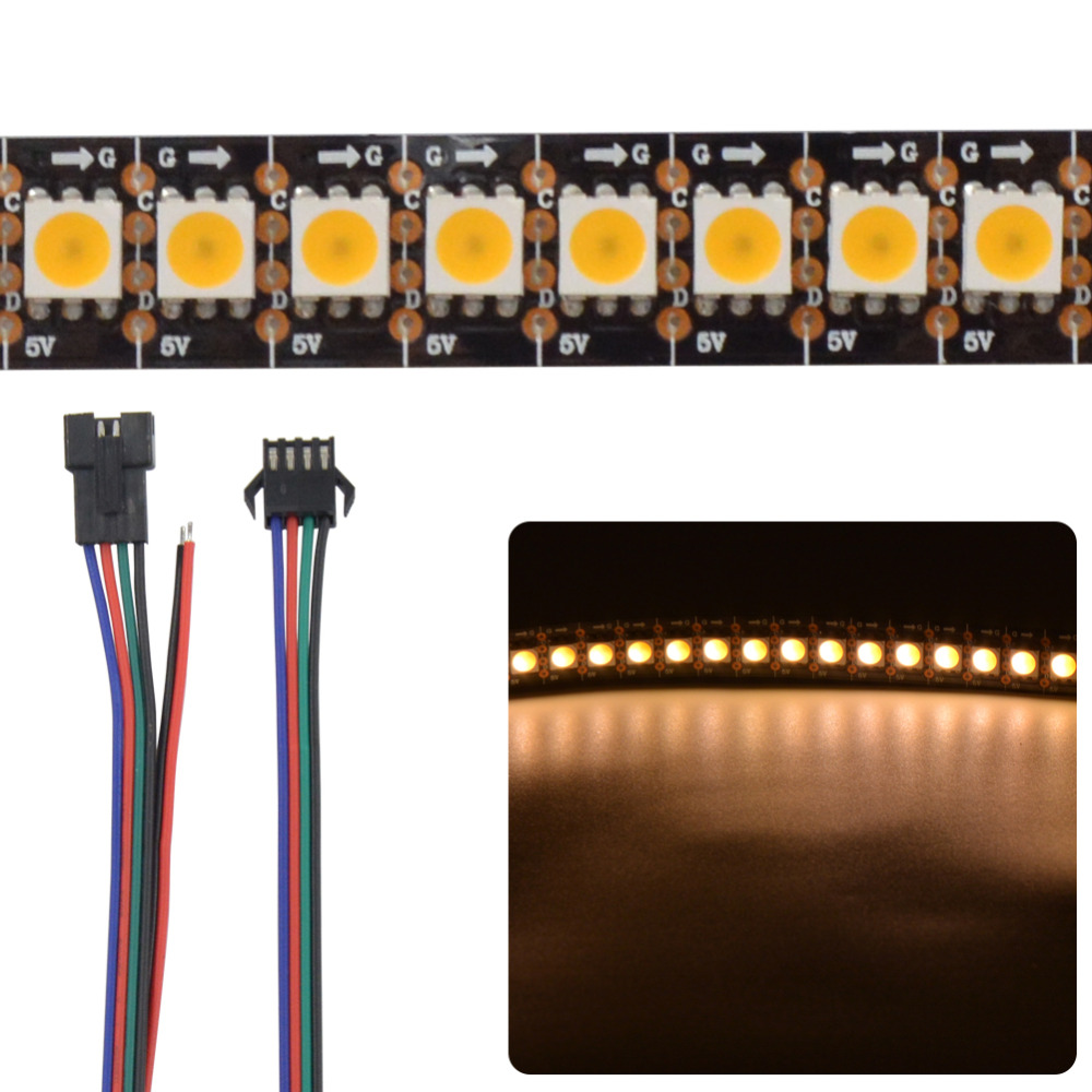 цены Mokungit Addressable 1m 144LEDs/m 5V APA102-C Warm Cool White 3000K-6500K led pixel strip 5050 144 pixels/M WHITE Black PCB