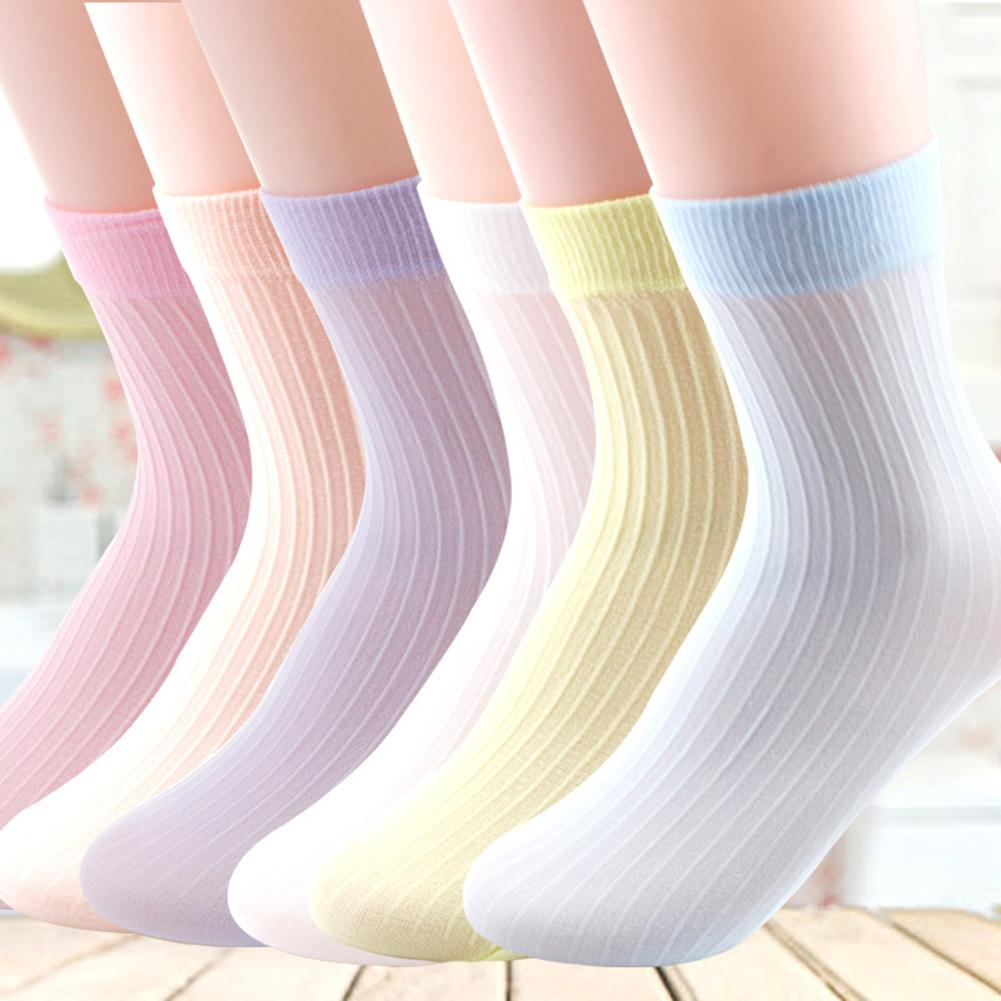 10 Pairs/Set Summer Over Ankle Socks Stripe Lovely Candy Color Elastic Hosiery  Ankle Length Soft Breathable For Girl Intimates