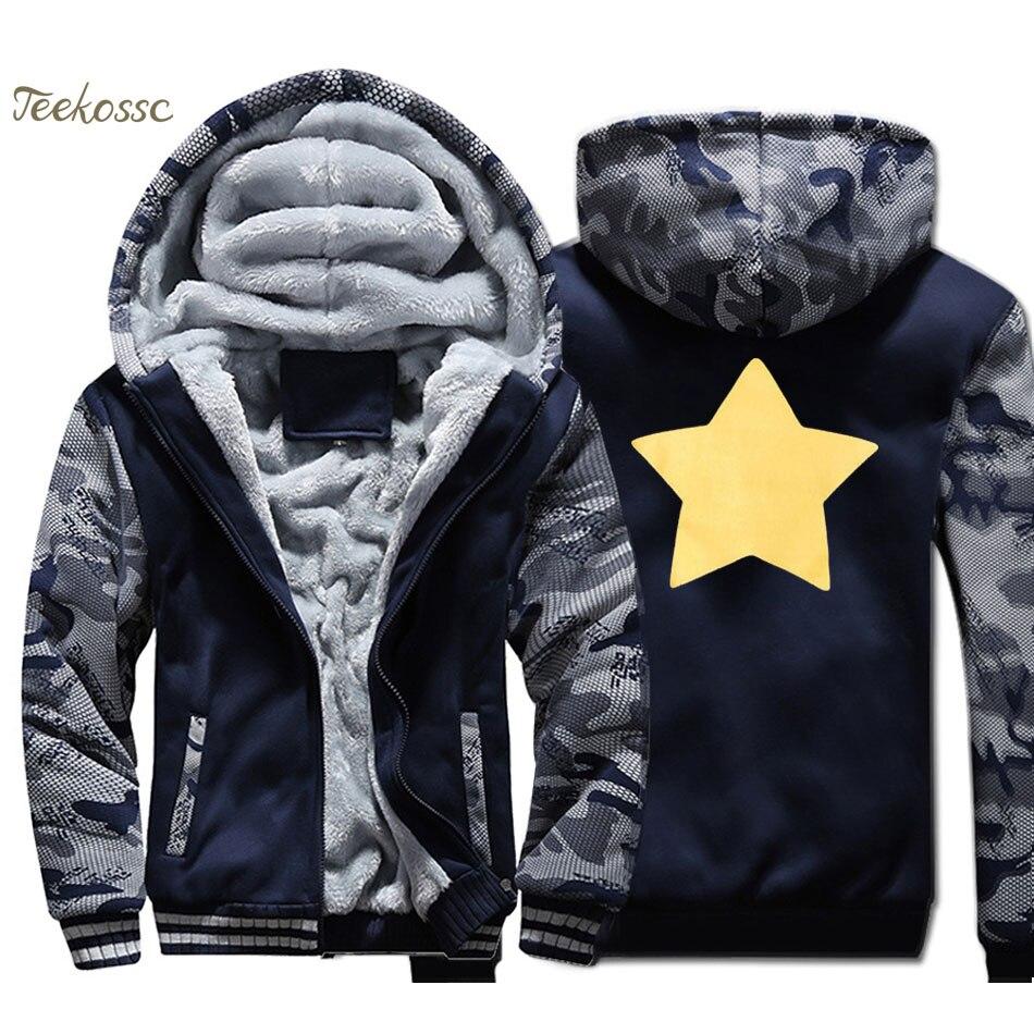 Steven Universe Star Cookie Cat Hoodie Men Funny Sweatshirt Coat Winter Thick Fleece Camouflage Jacket Yellow Star Streetwear in Hoodies amp Sweatshirts from Men 39 s Clothing