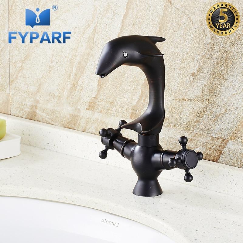 FYPARF dauphin salle de bains Vintage robinet double poignée croix pont montage bassin navire évier mélangeur robinet noir en laiton froid chaud évier grue