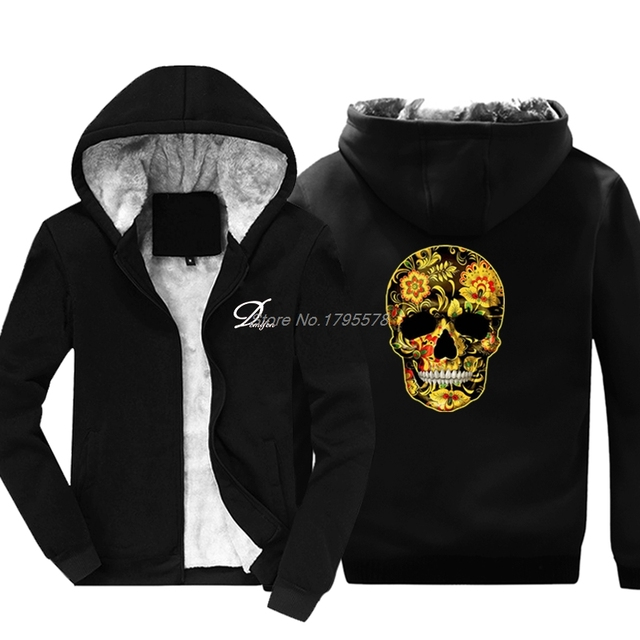 Flower Skull Hoodies Candy Day Of The Dead Mexico Sugar Skull Gothic Tops Jacket Sweatshirt Men Thicken Cotton Jackets Tops