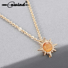 Cxwind Fashion Crystal Stone Lucky Sun Flower Gold Color Pendant Necklace for Women Statement Necklaces Vintage Jewelry Gift(China)