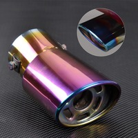 Universal Twin CURVED Exhaust Tailpipe Tail Pipe Rear Muffler End Trim 58mm For Nissan Versa Honda