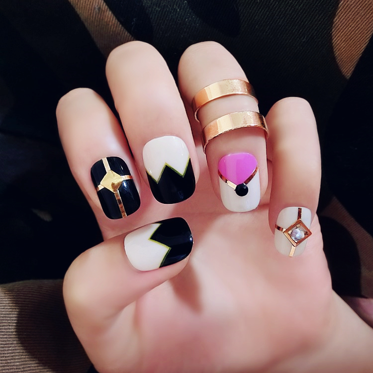 High quality Amrican style colorful square pattern fake nails cute ...