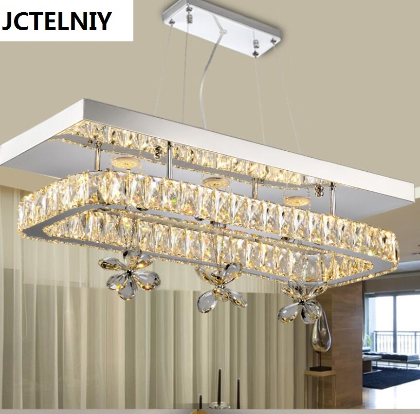 Modern led crystal brief dining room pendant light rectangle pendant light bar modern fashion luxurious rectangle k9 crystal led e14 e12 6 heads pendant light for living room dining room bar deco 2239