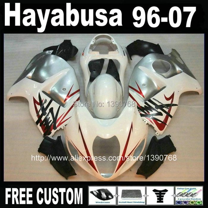 Bodywork fairings for SUZUKI Hayabusa GSX1300R 1996 2007 white silver black motorcycle fairing kit GSX 1300R