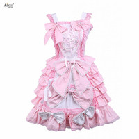 Ainclu XS XXL Womens Pink Sleeveless Bow Ruffle Cotton A line/Bubble Dress Sweet Lolita Dress With Lace/Bow/Ribbon for party