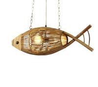 Wood Light Originality Fish Pendant Lamp Restaurant Cafe Bar Hanging Light Personality Bamboo Creative Hand Crafted Weaving