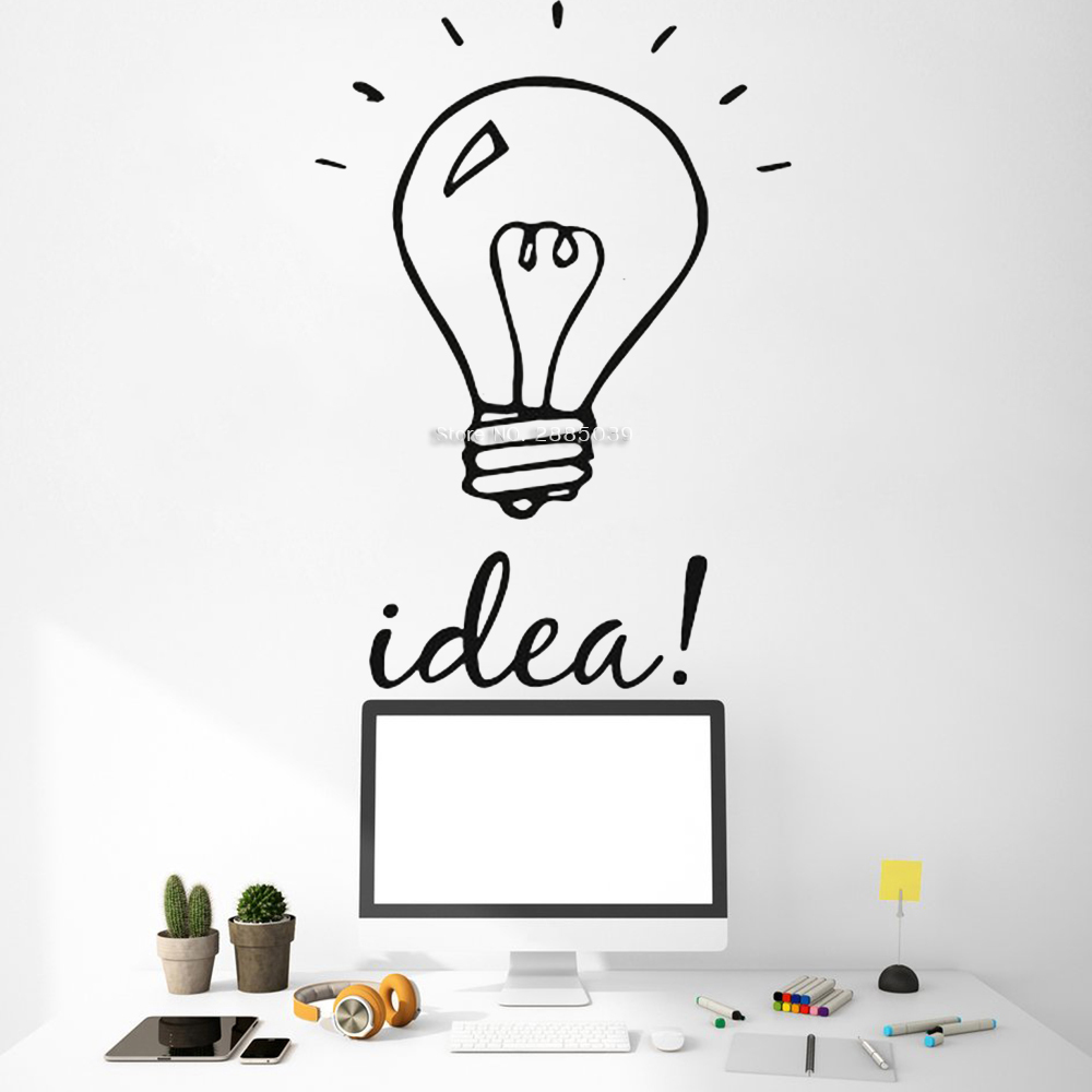 Home & Garden Home Decor Open-Minded Simple Idea Light Bulb Office Murals Wall Decor Stickers Art Decal Team Working Room Posters Vinyl Wall Decals Removable Lc1174