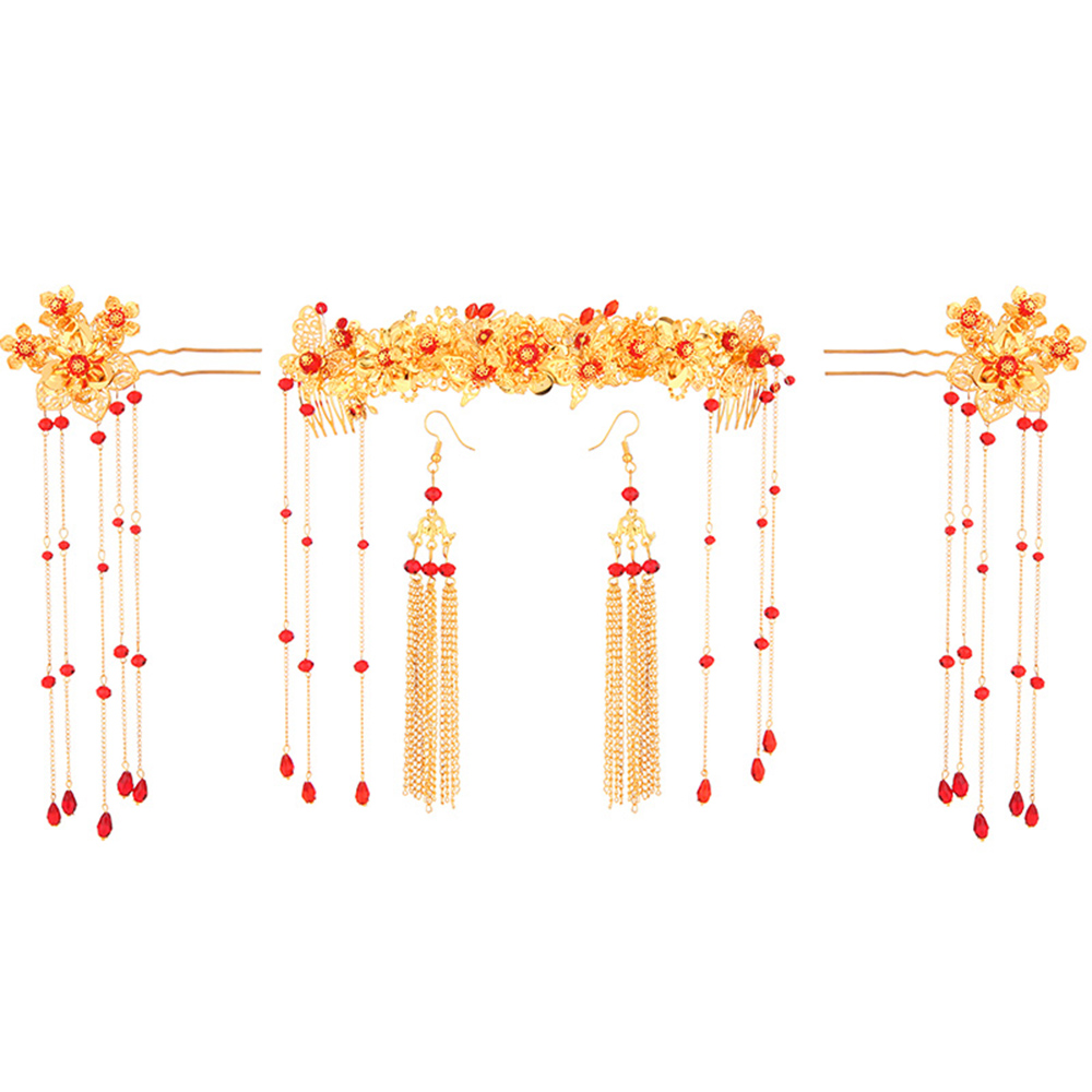 Vintage Gold Color Ancient Chinese Style Hair Jewelry Set Red Beads Tassel Hair Sticks Bride Wedding Long Drop Earrings Headband 00009 red gold bride wedding hair tiaras ancient chinese empress hair piece
