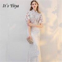 Это Yiiya белый воротник короткий рукав аппликации Bling блестками вечерние платья этаж Длина труба торжественное платье LX431
