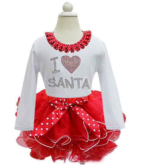 Baby Girls Santa Print Tutu Dresses Christmas Dress Child Kids Girls Long Sleeve Santa Party Dress Baby Girls Kids Clothing