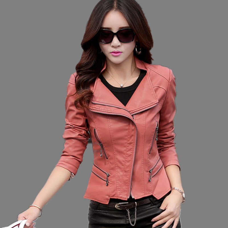 women leather jacket 2017 spring slim Plus size 5XL women's ...