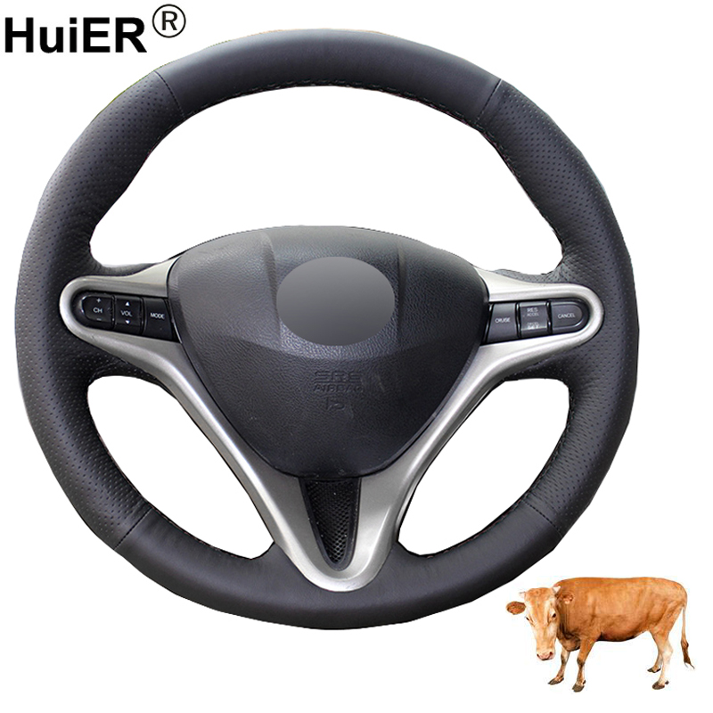 Hand Sewing Car Steering Wheel Cover Top Cow Leather Funda Volante For Honda Civic Civic 8 2006 2007 2008-2010 2011 (3-Spoke)