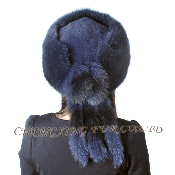 CX-C-95B Высококачественная модная шапка из натурального Лисьего меха с хвостами