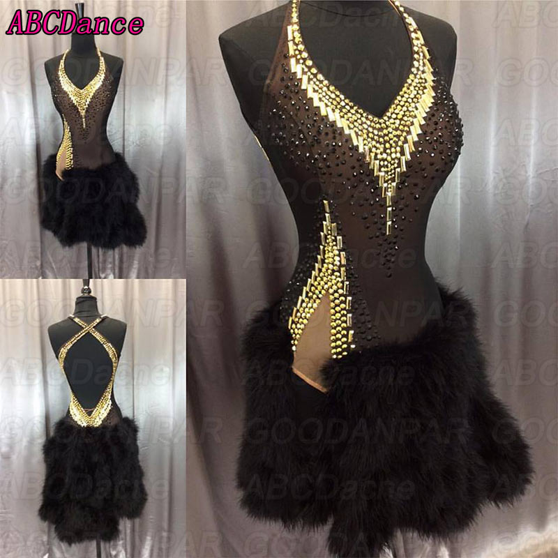 New Latin Dance Dress Women Sexy Sling Backless Latin Dance Dress Forked Irregularities Ballroom Dance Dress Tango Rumba Cha Cha