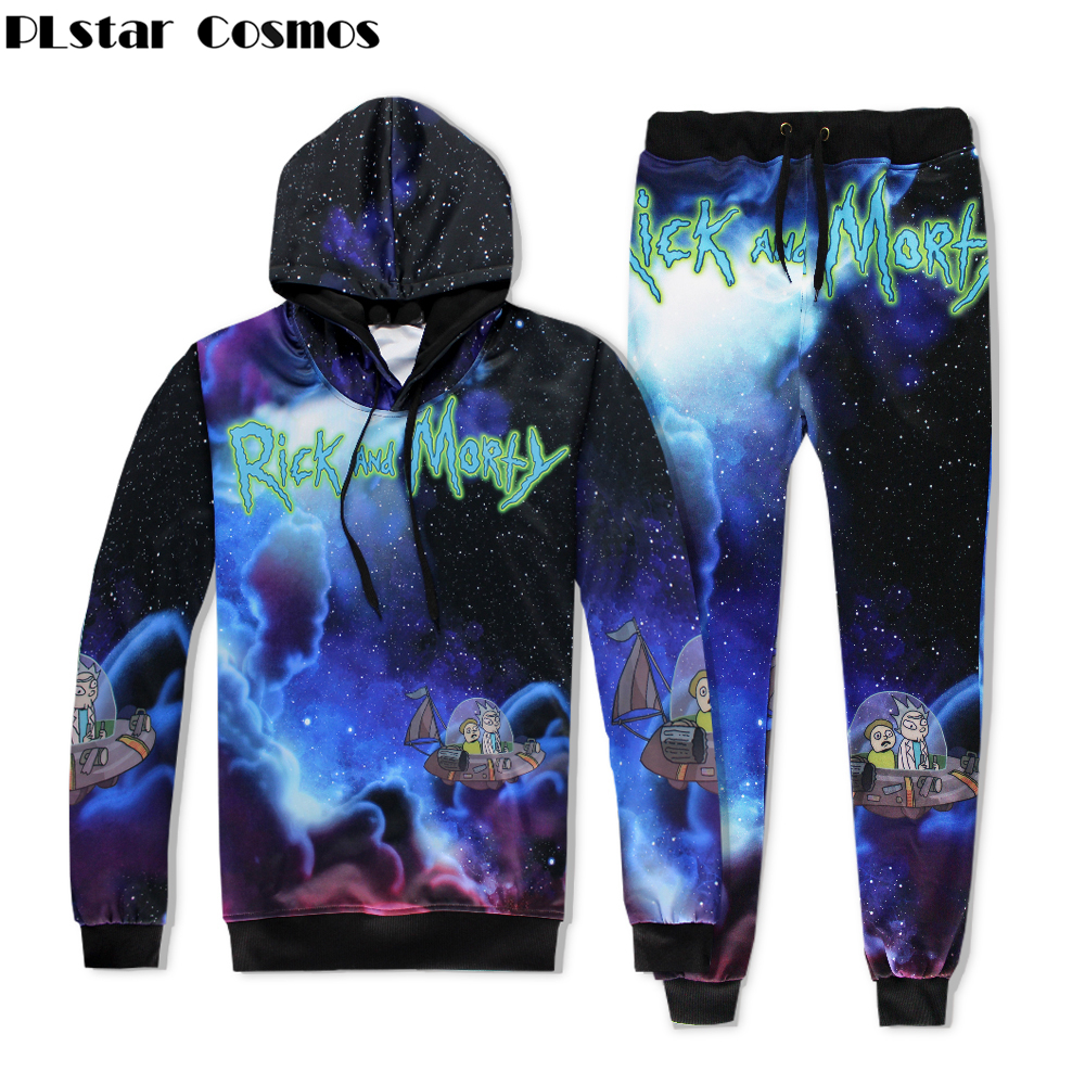 PLstar Cosmos Galaxy Space Hoodies Funny cartoon Rick and Morty 3D All Over Print Fashion Hooded sweatshirt+joggers pants Set