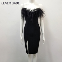 Leger Babe 2018 Crop Top Women Bandage Dress Sexy Off the Shoulder Tassel Party Dresses Sleeveless Knee Length Sheath Vestido