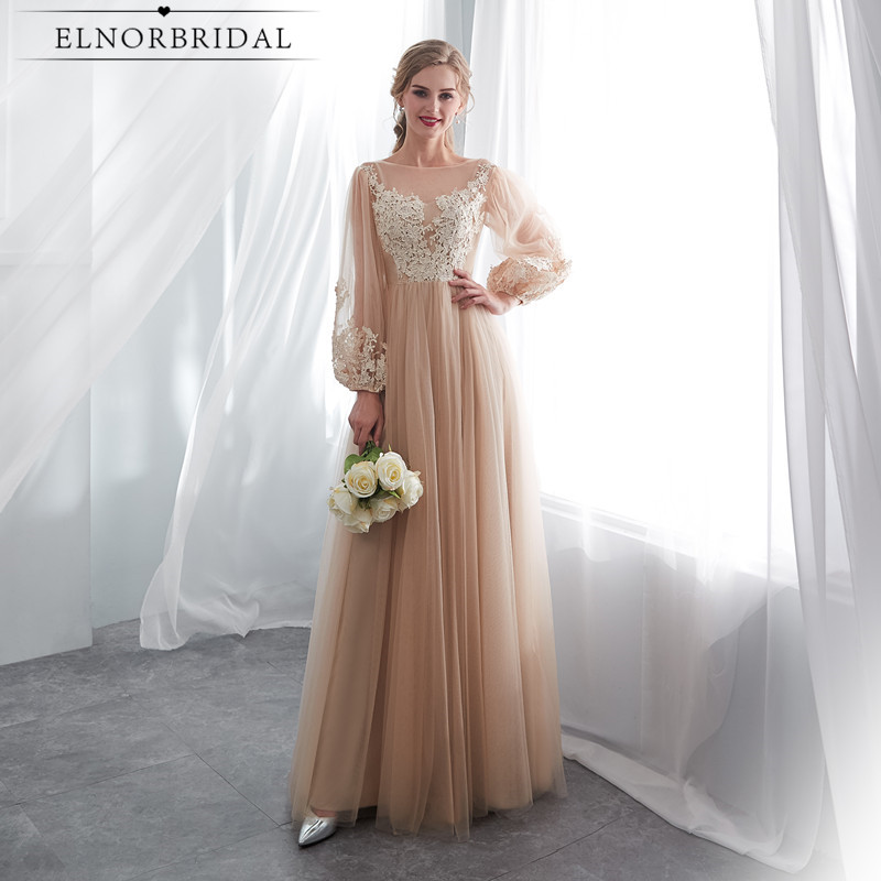 Champagne Long Sleeves   Evening     Dresses   2019 Vestido De Festa Lace Formal Women Prom Gowns A Line Sheer Dinner Party   Dress