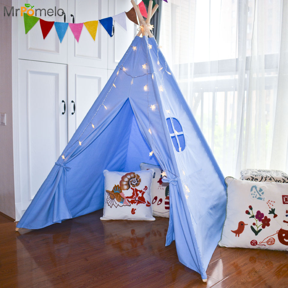 MrPomelo Children Indoor Indian Teepee Play House Solid Blue Garden Game PlayHouse 100% Cotton Canvas Outdoor Toy Tents for Kid best selling child toy tents tipi kids game house girl princess play tent teepee children house indoor outdoor toy tents