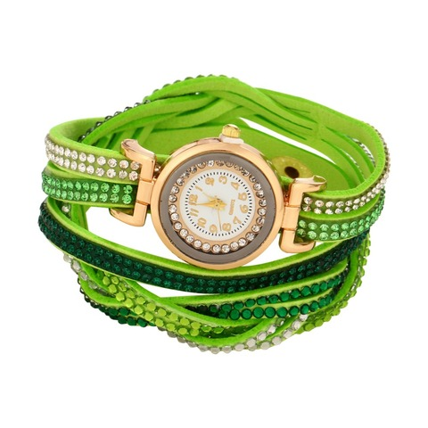 Women's Bracelet Watches Fashion Jewelry Watches Luxury Rhinestone Plated Leather Strap Multilayer Watches Women Islamabad