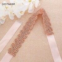 Diamond Wedding Belts Rose Gold Crystal Bridal Belt Rhinestones Flower Bridal Sash For Wedding Accessories Belt J200RG