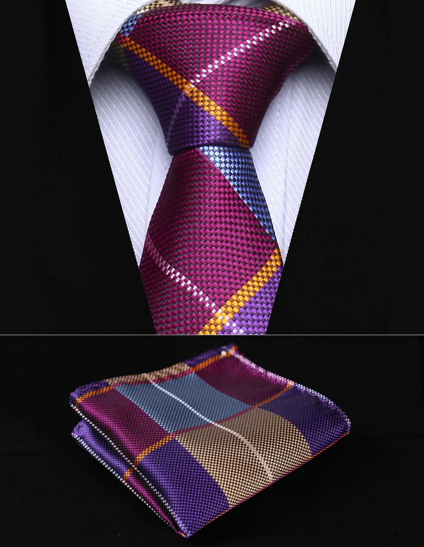"Party Wedding Classic Pocket Square Tie TC501B5S Blue Purple Check 2.17"" Silk Woven Men Tie Necktie Handkerchief Set"