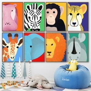 Image 2 - Elefante, León, jirafa, hipopótamo, cebra, carteles nórdicos e impresiones, cuadro sobre lienzo para pared, fotos de pared, decoración para habitación de bebés y niños