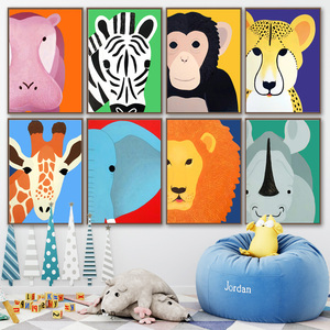 Image 2 - Elephant Lion Monkey Giraffe Hippo Zebra Nordic Posters And Prints Wall Art Canvas Painting Wall Pictures Baby Kids Room Decor