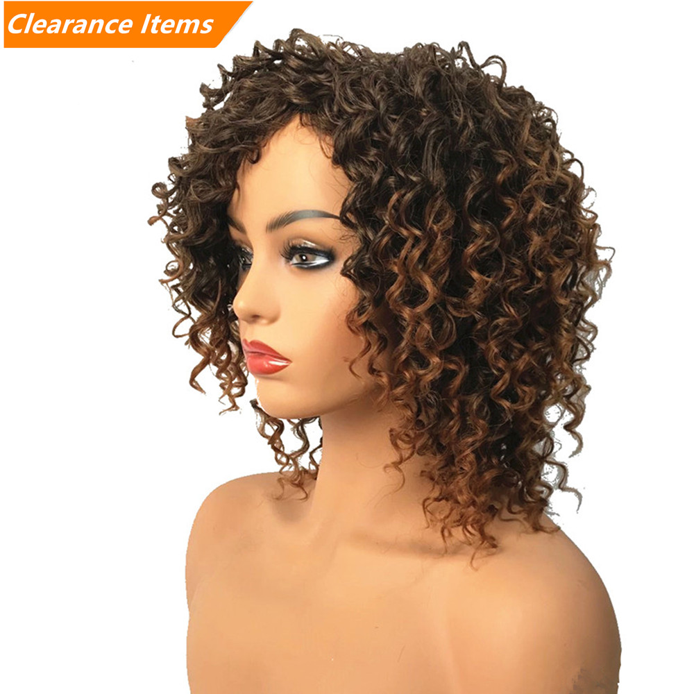 Synthetic Wig Short Ombre Afro Kinky Curly Wigs Women's Red/Black/Blond Hairpiece Natural Hair StrongBeauty