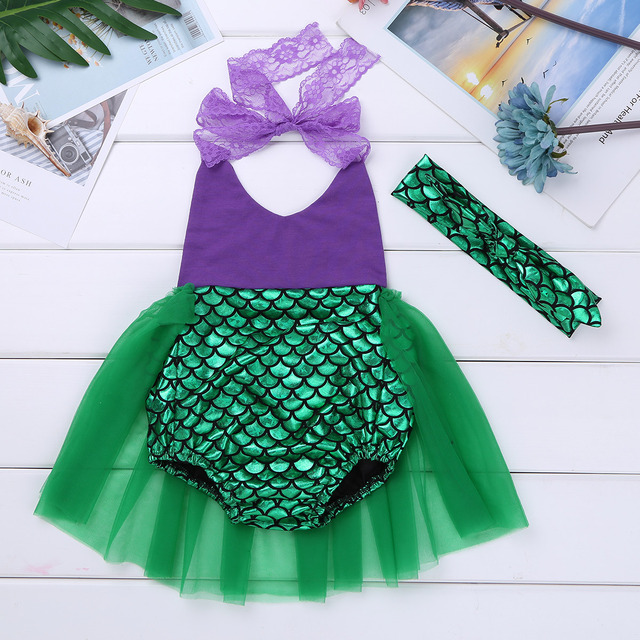 ed8ec0ddd Newborns Baby Girls Clothes Mermaid Cosplay Outfit Tutu Fancy Party ...
