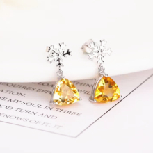 wholesale trendy gemstone jewelry 925 sterling silver natural yellow crysatl citrine stud earrings for women anniversary
