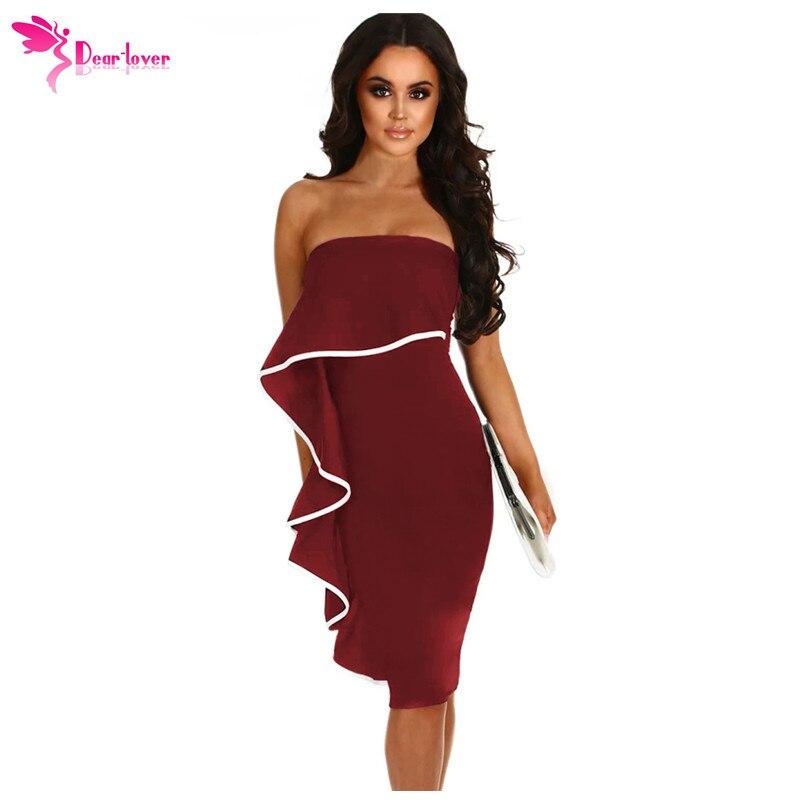 05cfb66f34ee Dear Lover Sexy Tube Dresses Women Party Knee Length Black Frill Strapless  Bandeau Midi Bodycon Dress Vestidos de Festa LC610049-in Dresses from  Women's ...