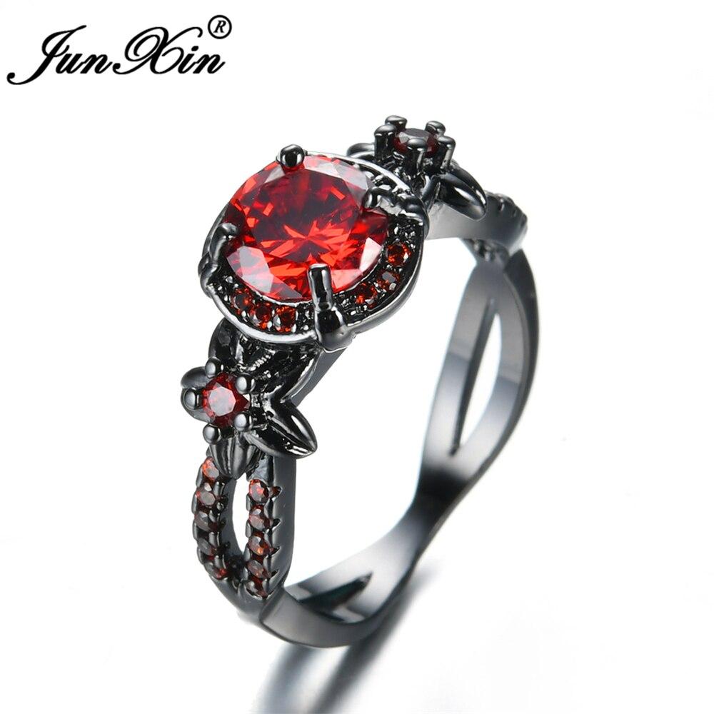 JUNXIN Weibliche Orange Rot Runde Zirkon Ring Mode Schwarzen Gold ...