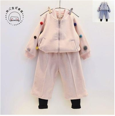 2016 Winter New Girls Ball Baseball Jacket Wide Leg Pants 2pcs Set Children s Free Shipping
