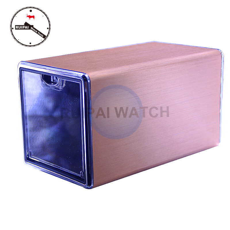 Golden Aluminum Alloy shading Watch Winder Automatic Rotating Watch Winder Acrylic Top Cover Watch Case Storage Box Winder Golden Aluminum Alloy shading Watch Winder Automatic Rotating Watch Winder Acrylic Top Cover Watch Case Storage Box Winder