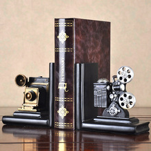 a Pair Creative Synthetic Resin Bookend Shelf Retro Camera Bookend Holder Office Supplies Home Decoration Book Stand