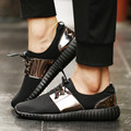 Hot Sale Men Shoes Luxury Brand Men Casual Shoes Men Air Mesh Glossy Gold Fashions Men Shoes Size 35-44