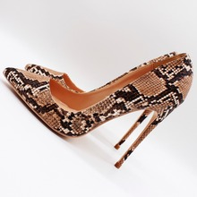 Free shipping fashion women Pumps lady Tan snake python Pointy toe high heels shoes 10cm bride wedding 12cm 8cm