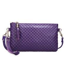 Vintage Frauen Messenger Bags Luxus Split Leder Rindsleder Umschlag Kupplung Strickmuster Handtaschen Cross Body Schultertasche Bolsos
