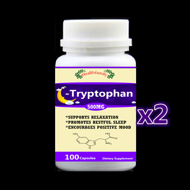 Tryptophan 99% L-Tryptophan - 2 bottle 200pcs - Support Relaxation Promote Result Sleep Aid Support Positive Mood,free shipping 100g bag l tryptophan food grade 99% usa imported l tryptophan