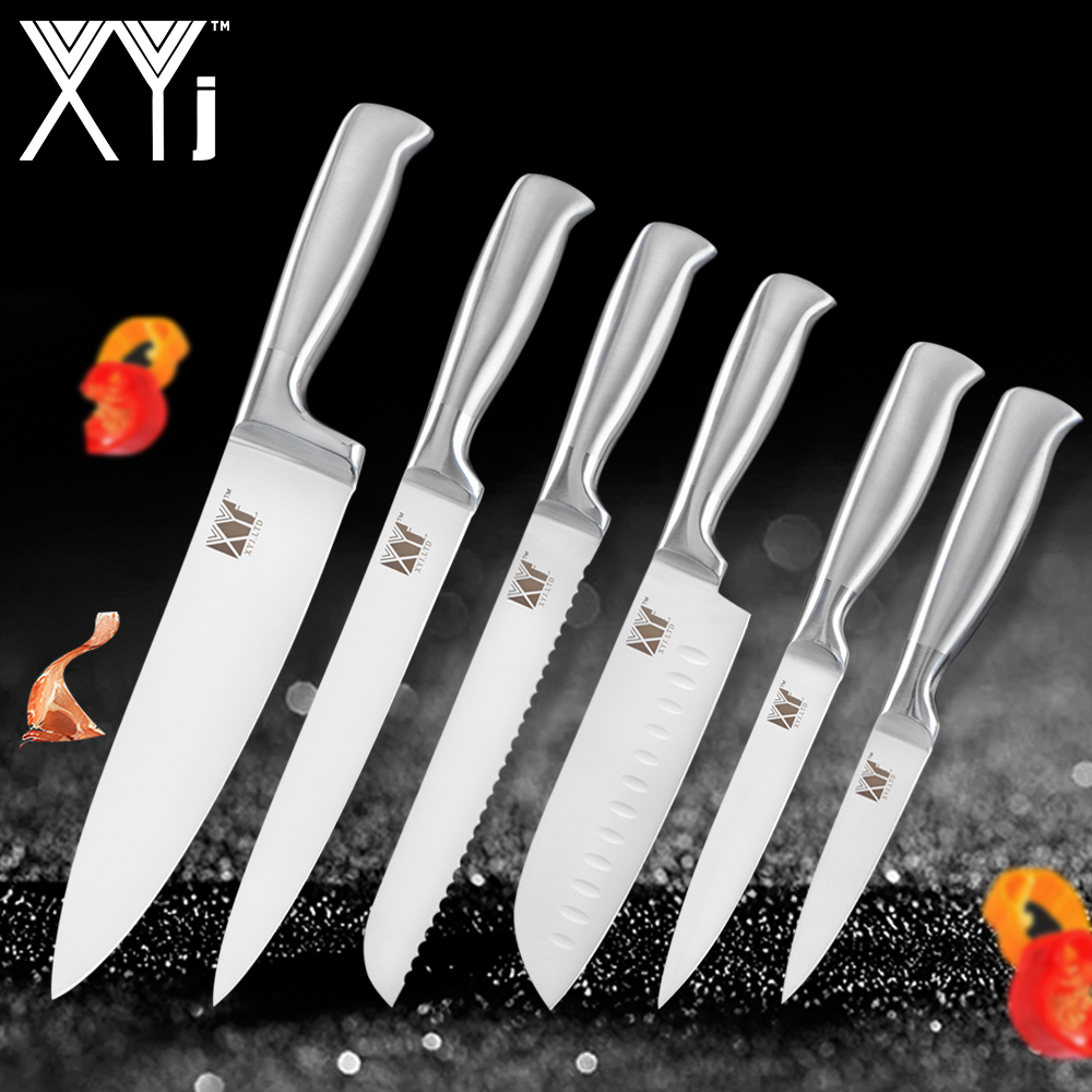 XYj Kitchen Knives Hot Stainless Steel Knives Light Weight Paring Utility Santoku Chef Slicing Bread Kitchen Tools Accessories