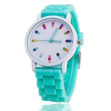 Vansvar бренд Лидер продаж Модные Карамельный Цвет кварцевые часы Для женщин наручные часы Relogio Feminino подарок 369