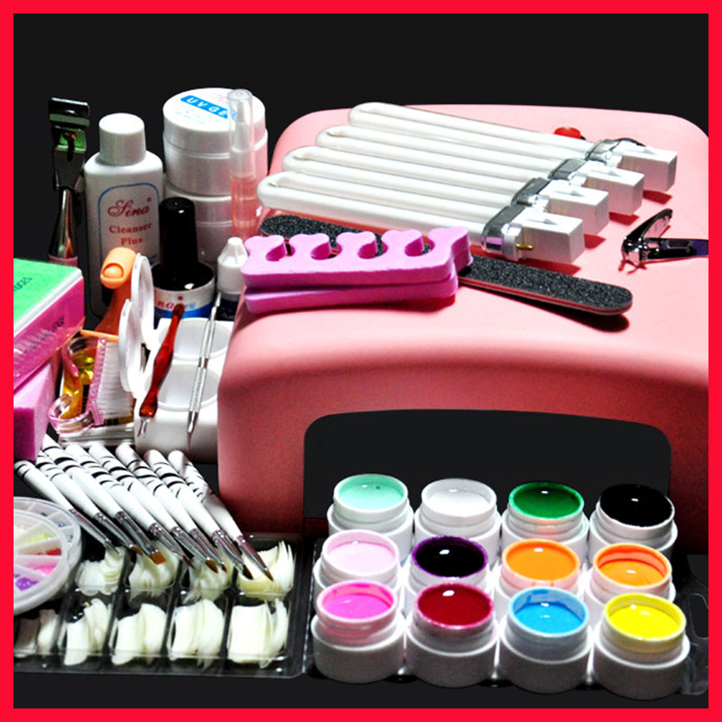 Full Nail Art Tools Cure 36W UV Lamp Gel Polish Soak Off Base Coat Top Coat Gel Nail Nail Manicure Kits Nail Tool nail art manicure tools set uv lamp 10 bottle soak off gel nail base gel top coat polish nail art manicure sets