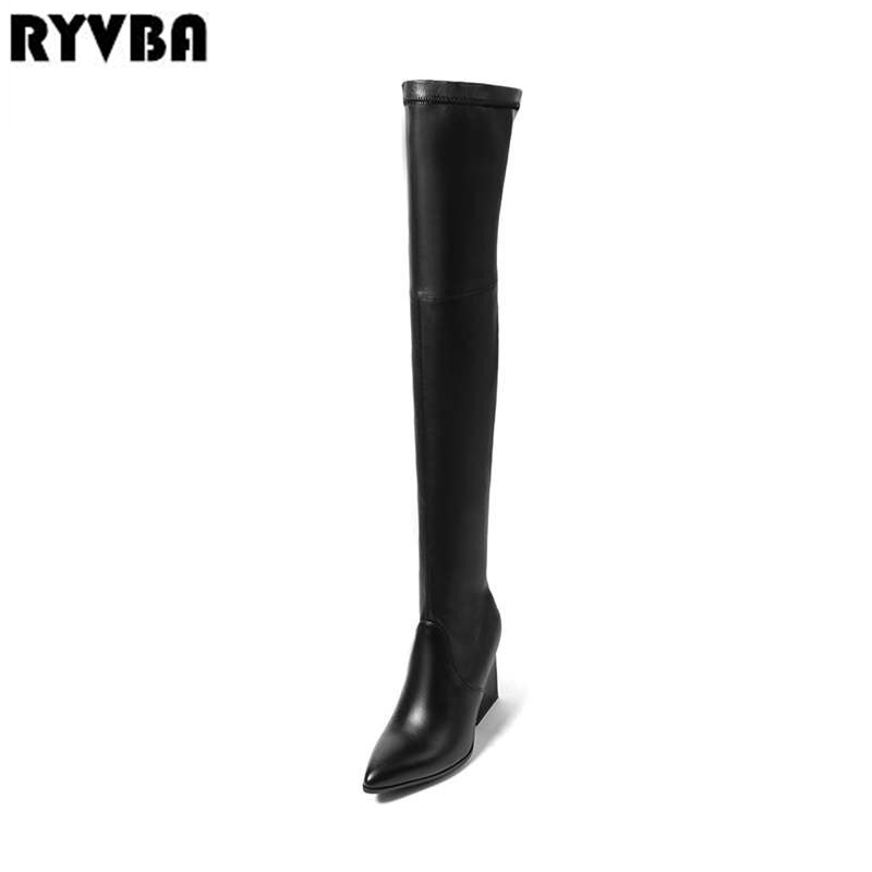 RYVBA women stretch high heels over the knee boots woman genuine leather thigh high boots 2018 sexy pointed toe winter shoes daidiesha knee high boots embroidery genuine pu leather women boots in winter square high heels boots sexy pointed toe shoes