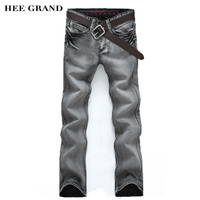 Men S Jeans Slim Water Washed Straight Pants Light Gray Free Shipping Wholesale MKN119