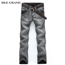 HEE GRAND 2017 New Arrival Fashion Men's Jeans Slim Water-washed Straight Pants Light Gray Wholesale MKN119