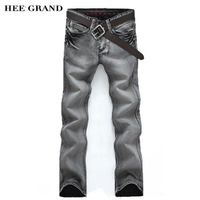 Hee Grand/Новое поступление 2017 года модные Для Мужчин's Джинсы для женщин тонкий промывают водой прямо Брюки для девочек светло-серый оптом MKN119